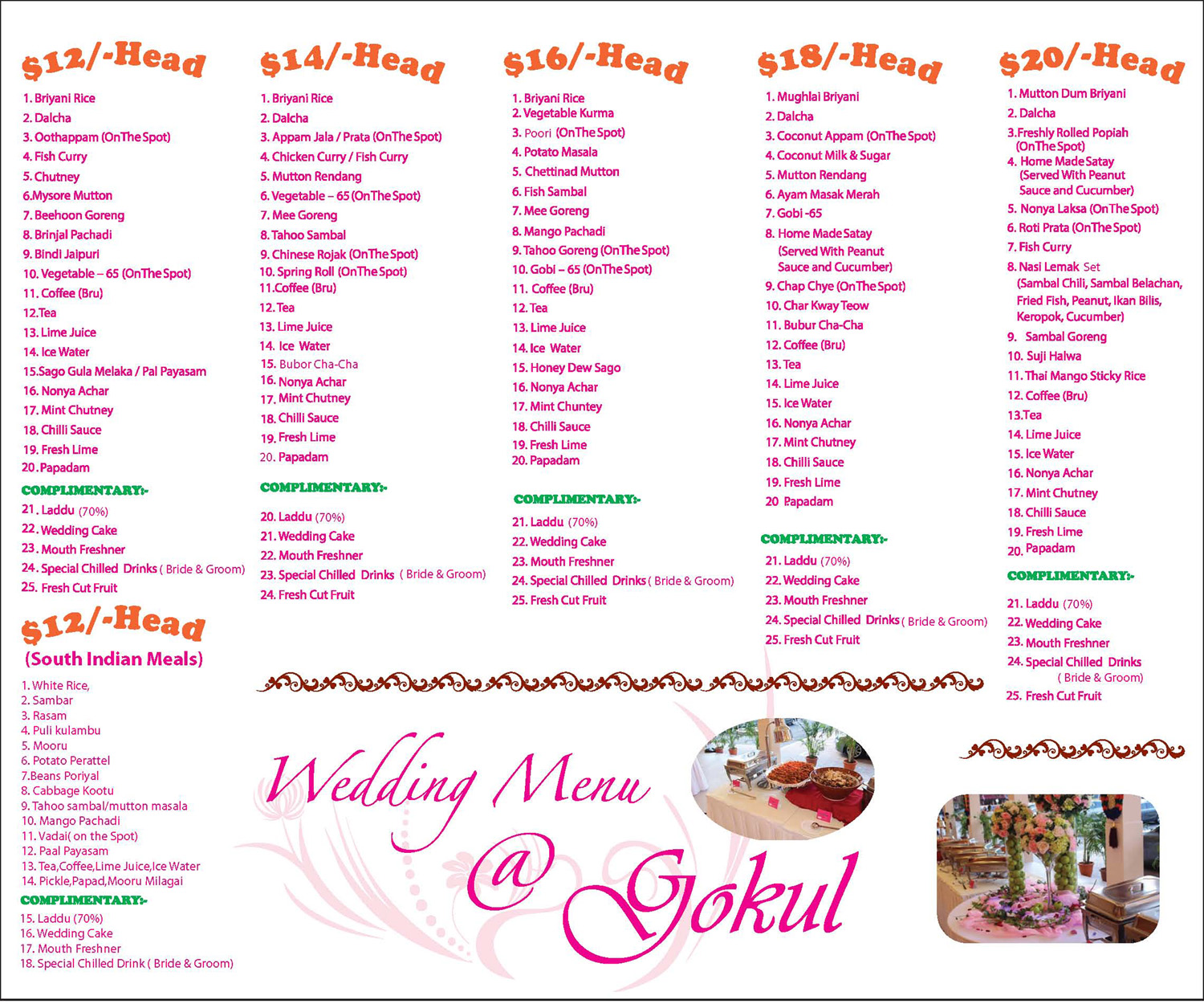 Wedding Food Buffet Menus: Gokul Vegetarian Restaurant Singapore